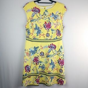 New York & Company Floral Yellow Shift Dress